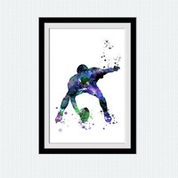 American football player poster American football illustration American football watercolor art Home decoration Sport watercolor print W387