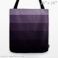 "Ombre ""Purple Haze"" 13x13 Graphic Print Tote Bag Emerald Orange Jade Color Fade 16x16 18x18 Gift Her Him Spring Summer Back to School"