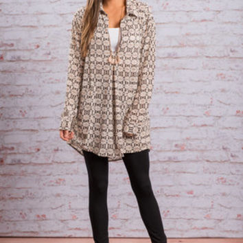 Above Me Blouse, Ivory-Brown