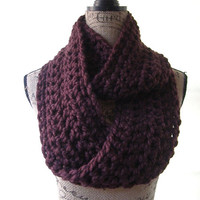 Alpaca Blend Burgundy Dark Red Chunky Scarf Fall Winter Women's Accessory Infinity