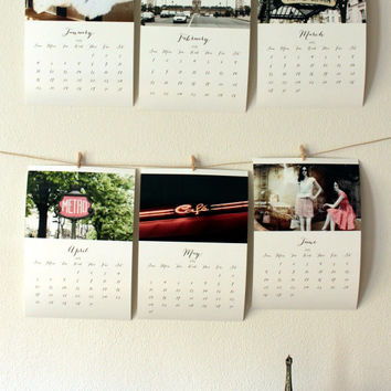 2015 calendar Paris calendar 2015 wall calendar Paris decor christmas present french decor vintage style photo calendar 5x7 8x11 A4 calendar