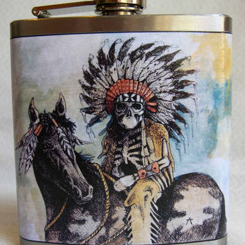American Indian Flask  War Chief by Bloodlines on Etsy