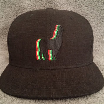 Llama Snapback Hat / Black Vertical Grain Cotton with Jah Llama