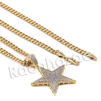 Lab diamond Micro Pave Gold PT Super Star Pendant w/ Miami Cuban Chain B24G