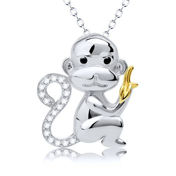 Cute animal necklace Men and women monkey banana pendant 925 sterling silver jewelry Cross-border accessories