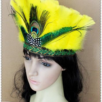 Feather Hair Accessories Indian Chief Headdress Performing Decoration Diy Carnival Halloween Party Headwear