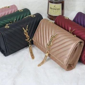 YSL 2017 new fashion Solid color Shoulder Bag [110680702991]