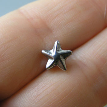 """Large Star Surgical Steel Tongue Barbell Ring 14G 5/8"""" Piercing Body Jewelry, Men Women Punk Goth Military Steampunk Retro"""
