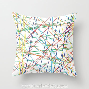 Lines Modern Throw Pillow 16x16 Decorative Cover Bright Geometric Mod Pop Art Red Blue Yellow Tan Teal Orange Abstract Fab Kids Nursery Gift