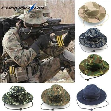 Military Men Hunting Camouflage Hat Outdoor Hiking Wide Bucket Hats Unisex Brim Sun Cap Summer Jungle with String Boonie Hat