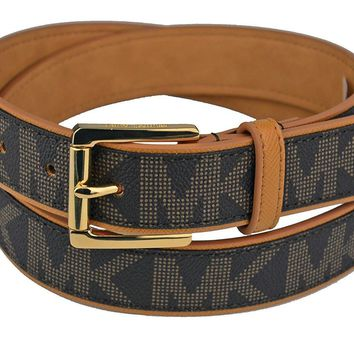 Michael Kors Women¡¯s Belt Monogram Chocolate Faux Leather Gold-Tone Buckle