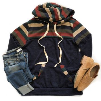 Navy, Hunter Green and Rust Hooded Sweater