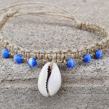 Welcome to the Beach Shell and Cats Eye  Hemp Anklet or Long Bracelet