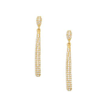 Glamorous 14K Gold Plated Pave CZ Drop Earrings