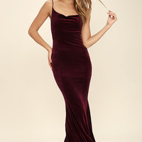 Sorceress Burgundy Velvet Maxi Dress