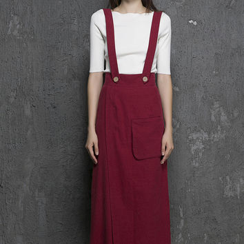 Wine Red Long Suspender Pant Supender Dress Pant(1327)