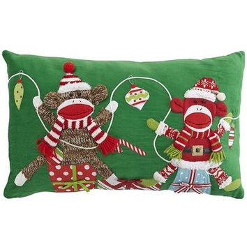 Holiday Sock Monkey Pillow
