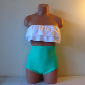White bandeau top & seashore green retro bottoms