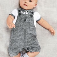 Summer 2016 baby boy clothes set Gentleman suit 2pcs:overalls + short sleeve t shirt baby clothing set kids costume