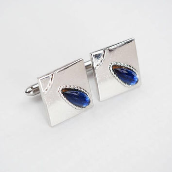 Vintage Silver and Blue SWANK Cufflinks | Mid Century Nautical Western Mens Fashion