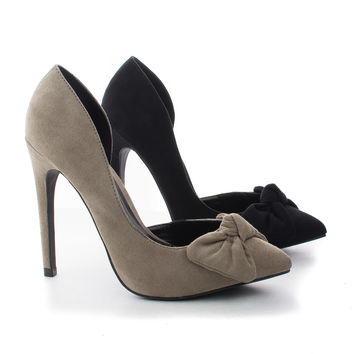 Valerie15 D'orsay Knotted Bow Stiletto Heel Dress Pumps
