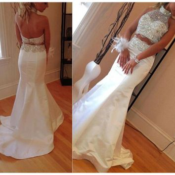 2 Piece White Prom Dresses Glamorous Halter Top Backless Court Train Crystal Beaded Stain Mermaid Prom Dress Robe De Bal Longue