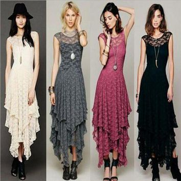 Women Boho Lace Bodycon Dress Sexy Long Double Low V-Back Dresses