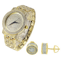 Men's Hip Hop Fully Iced out Gold Finish Watch & Earrings Gift Set