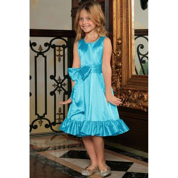 Blue Fit & Flare Summer Party Midi Princess Dress Flower Girl