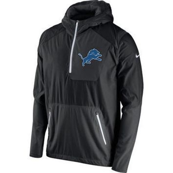 ESBON NFL Detroit Lions Men's Black Vapor Speed Fly Rush Half-Zip Jacket