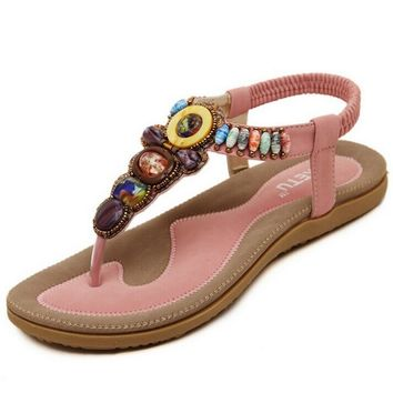 Size 36-42 2016 Bohemian Women Sandals Gemstone Beaded Slippers Summer Beach Sandals W