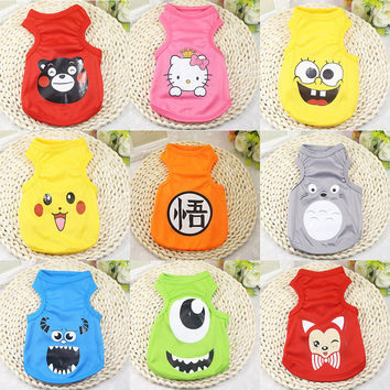 Cute Pet Dog Clothes Cartoon Cat T-shirt Soft Puppy Dogs Clothes Pet Clothing Summer Shirt Casual Vests For Small Pets XS-XXL