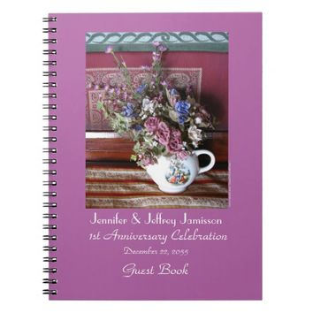 1st Anniversary Party Guest Book, Vintage Teapot Notebook