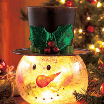 Crackle Glass Snowman Light
