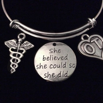 She Believed Occupational Therapist Expandable Charm Bracelet Silver OT Adjustable Bangle Graduation Gift