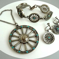 Fred Harvey Era  Wagon Wheel Necklace Earrings & Bracelet Set - Vintage