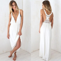 Women Fashion Summer Sexy Elegant V-neck Sleeveless Backless Slim Evening Beach Prom Long Maxi Waist Dress = 1958143300