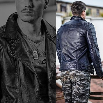Men Military Motorcycle Leather Clothing Jackets PU Male Coat Casual Black Brown Autumn Winter Outwear Coats