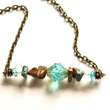 Boho Jewelry, Turquoise Czech Hippie Necklace, Earthy Gemstone Bar Necklace, Statement Necklace, Aqua Blue Fluorite, Jasper and Tigereye