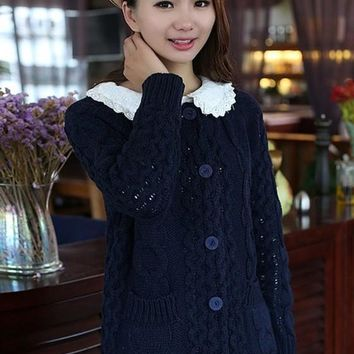 Navy Blue Patchwork Pockets Long Sleeve Cardigan