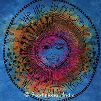 Psychedelic Celestial Sun Moon Stars Tie Dye Tapestry, Hippie Hippy Wall Hanging, Sun & moon Tapestries, Decorative Boho Table Cloth, Beach Blanket Decor Throw,
