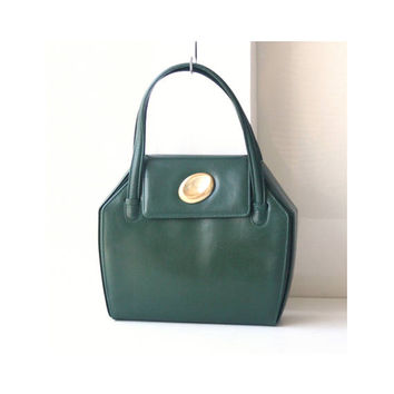Gucci Leather vintage tote authentic handbag dark green