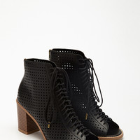 Perforated Lace-Up Peep Toe Booties