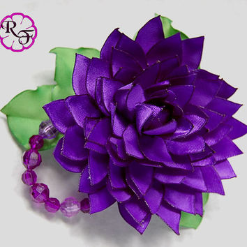 Kanzashi flower ,Dalia satin flower , french barrette , purple flower hair accessory