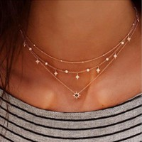 RscvonM Bohomian Multilayer Necklace 2018 Newest Fashion Choker Necklace Crystal Star Pendant Chain Golden Colour Women Jewelry