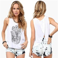 Amazon.com: Flymall Womens Tribal Print Split Back Tank Top