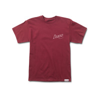 Old Script Tee in Burgundy