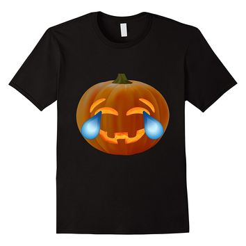 Emoji Pumpkin T shirt Laughing Face with tears Halloween