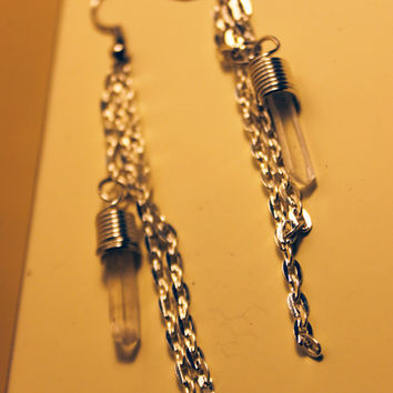 genuine quartz crystal dangle silver-tone earrings
