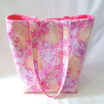 Batik Tote Bag, Cloth Purse, Handmade Handbag, Fabric Bag, Pink, Flowers, Floral, Shoulder Bag
